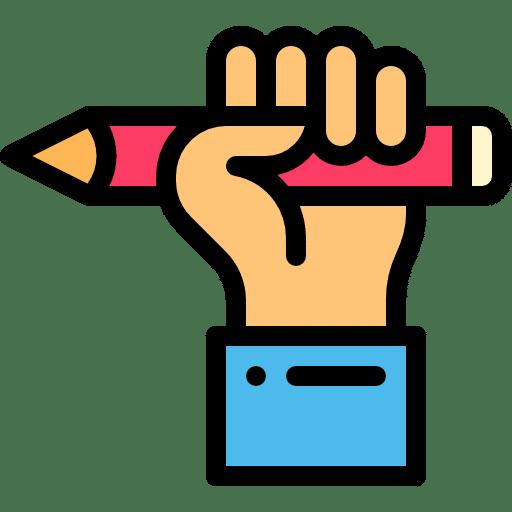 אייקון של יד מחזיקה עפרון
