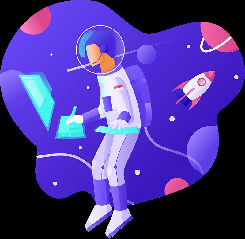 עיצוב לוגו - אסטרונאוט עם מחשב
